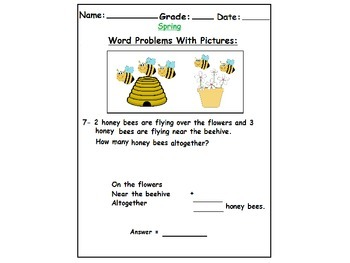Spring Themed First Grade Math Word Problems with pictures (Addition):
