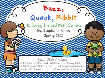 Spring Themed Math Centers: Buzz, Quack, Ribbit