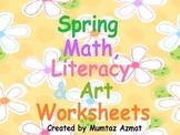 Spring Themed Math, Literacy & Art Worksheets: