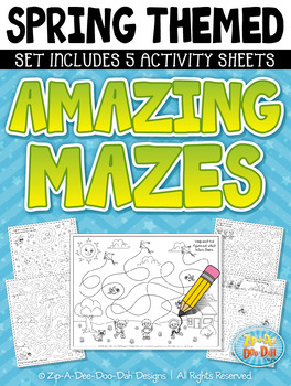 Spring Mazes Activity Sheets Set (5 Sheets) {Zip-A-Dee-Doo-Dah Designs}