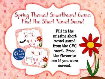 Spring Themed Middle Vowel Sounds Game for Smartboard or Promethean Board!
