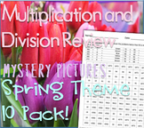 Spring Math: Multiplication and Division Review Mystery Pictures Spring Theme