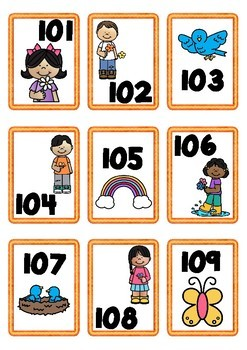 Spring Themed Number Cards 100-200