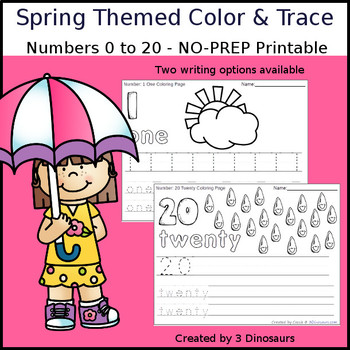 Spring Themed Number Color and Trace
