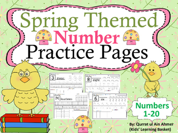 Spring Themed Number Practice Pages (1- 20):