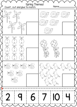 Spring Themed Numbers Cut and Paste Worksheets (1-20):