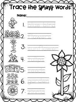 Spring Pocket Chart Match & Write Pictures & Word Cards
