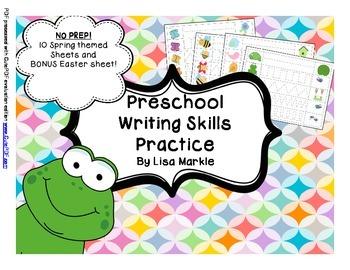 Preschool Writing Skills Practice Sheets Spring Themed NO PREP