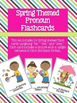 Spring Themed Pronoun Flash Cards!
