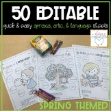 Editable Speech and Language Practice Sheets | Spring Themed | Mini Bundle