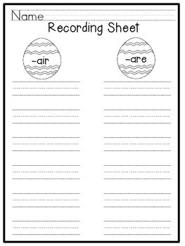 Spring Themed Read and Write the Room {R-controlled Vowels -air and -are}