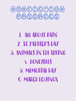 Spring Themed Reading Comprehension Passages (Fiction and Nonfiction!)