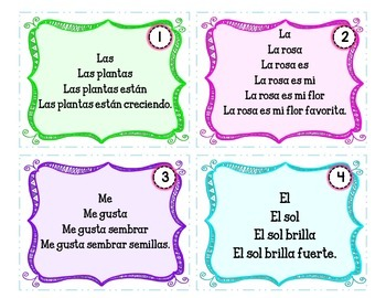 Spring Themed Repeated Reading Task Cards en Español