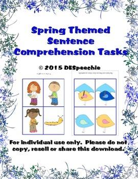 Spring Themed Sentence Comprehension Tasks