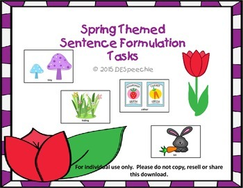 Spring Themed Sentence Formulation Tasks