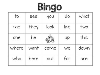 Spring Sight Word Bingo