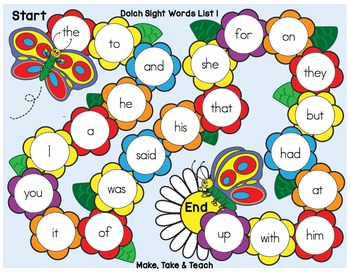 Sight Words - Spring Themed Sight Word Game Boards