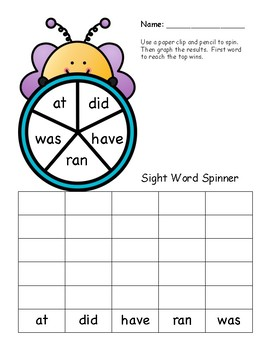 Spring Themed Sight Word Spinner Center:  Kindergarten Dolch Words