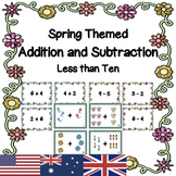 Spring Math Task Cards Single Digit Addition and Subtraction