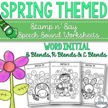 Spring Themed Speech Sound Worksheets for S, L and R Blends- No prep.
