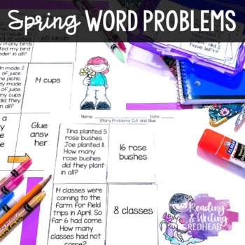 Spring Story Problems: Single & Double Digit Addition and Subtraction
