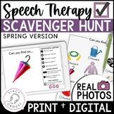 Spring Themed Teletherapy Language Digital Scavenger Hunt Interactive PDF