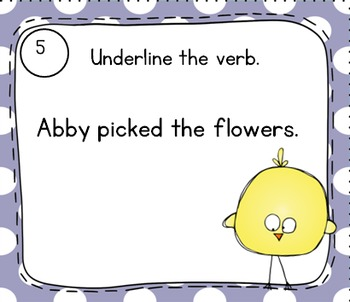 Spring-Themed Verb Task Cards