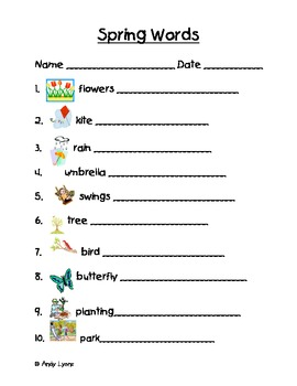 Spring Themed Vocabulary Words Handwriting