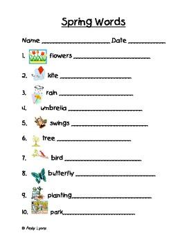 Spring Themed Vocabulary Words Handwriting