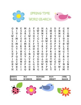 Spring Themed Word Search