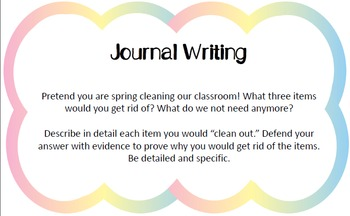 Work on Writing Activities - Task Cards - SPRING