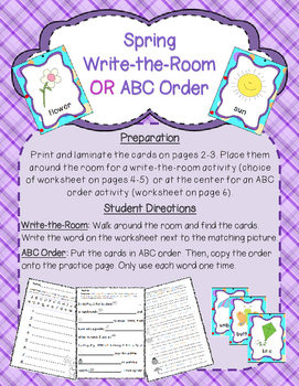 Spring Themed Write-the-Room and ABC Order Center