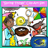 """Spring Things"" 42 pc. Clip-Art Set (21 BW and 21  Color)"
