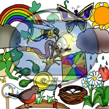 """""""Spring Things"""" 42 pc. Clip-Art Set (21 BW and 21  Color)"""