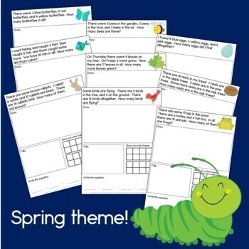 Spring Things Addition: Word problems with 3 addends