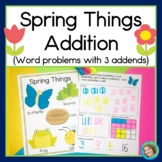 Spring Addition Word problems with 3 Addends