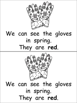 Spring Things Emergent Reader- Kindergarten- April and Color Words