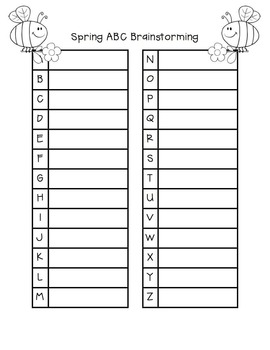 Spring Tiered ABC Brainstorming Templates FREEBIE!