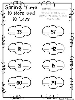 Spring Time 10 More and 10 Less Worksheets. Preschool-KDG Math and Numbers.