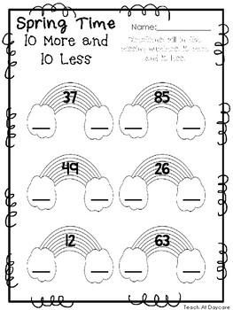 spring time 10 more and 10 less worksheets preschool kdg math and numbers. Black Bedroom Furniture Sets. Home Design Ideas