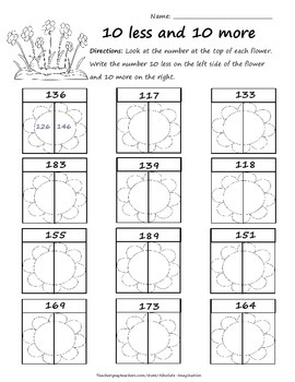 Spring Time 10 more and 10 less Worksheet Ready to Print