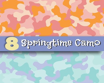 "Spring Time Camo - 8, 12 x 12"" 300 DPI Digital Papers - PDFs, JPGs and PNGs"