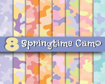 """Spring Time Camo - 8, 12 x 12"""" 300 DPI Digital Papers - PD"""
