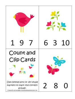 Spring Time Count and Clip preschool educational activity.  Learn numbers.