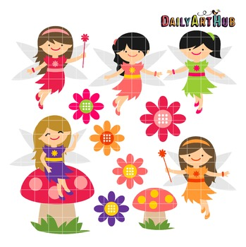 Spring Time Fairies Clip Art - Great for Art Class Projects!