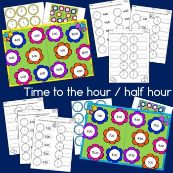 Telling time to the hour and half hour Spring Time Flowers