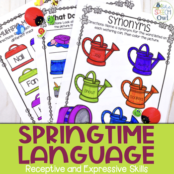 No Prep Receptive & Expressive Language Worksheets - Spring Edition