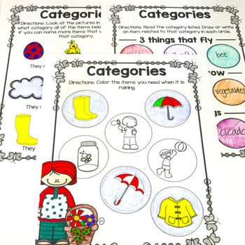 Spring No Prep Receptive and Expressive Language Worksheets and Homework