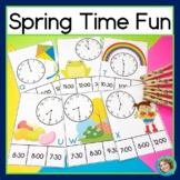 Telling Time to the Hour and Half Hour Spring Task Cards
