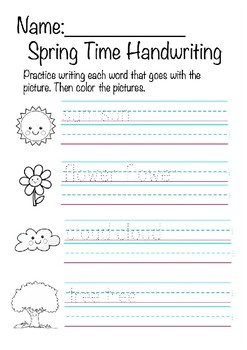 Spring Time Handwriting Worksheet